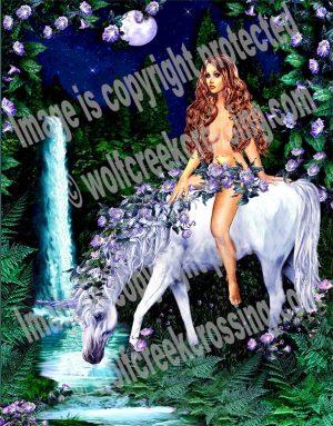 Moon Flower Unicorn Art