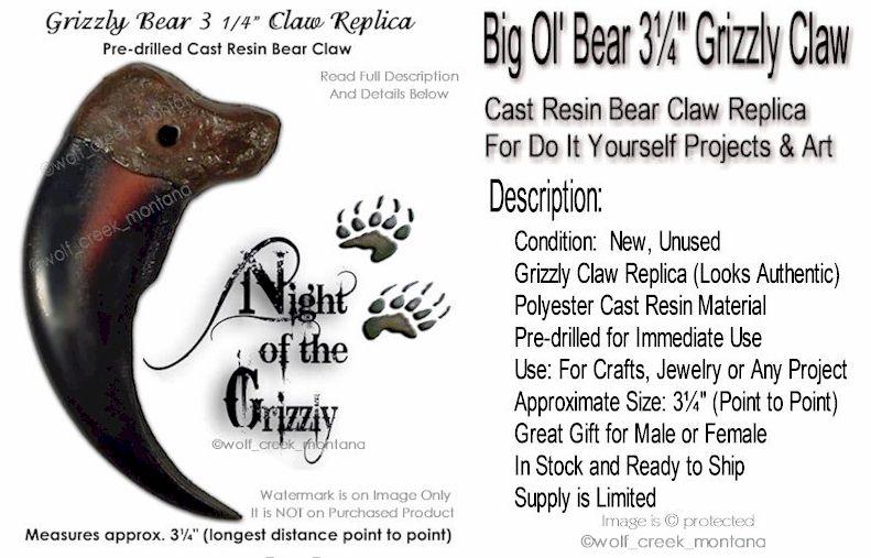 10 MODEL BLACK BEAR CLAWS #947 scary imitation big bear claws wild animals new