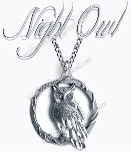 "OWL GODDESS OF WISDOM FREE SHIP #C/' 1¾/"" OWLS MOON NECKLACE 24/"" JEWELRY GIFT"