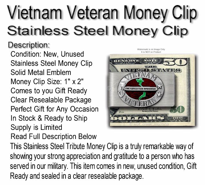 Iraq War Veteran Stainless Steel Money Clip