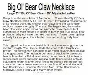 Big Ol' Bear Claw Description