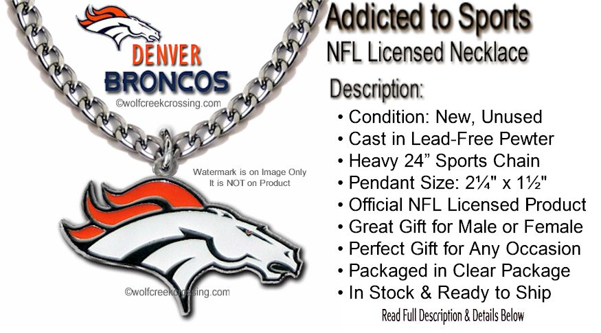 Loud proud denver broncos necklace heavy 24 sports chain say it loud and proud with this large sports pendant that comes to you ready to wear the pendant hangs from our own heavy 24 sports chain aloadofball Image collections