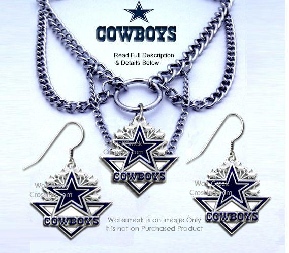 Dallas cowboys choker necklace earrings set a wolfcreekcrossing dallas cowboys choker set aloadofball Images