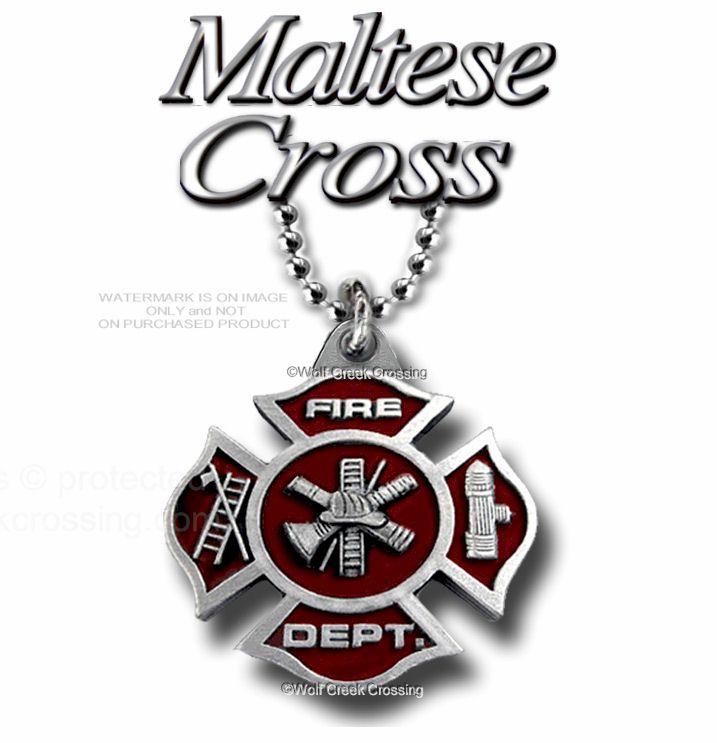 "Fire Department Maltese Cross Necklace: Fire Fighter Maltese Cross Necklace 22"" Chain E"