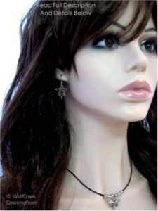 rn leather necklace & earrings