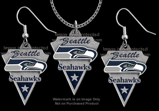 Seattle seahawks necklace earrings set nfl licensed for Sell gold jewelry seattle